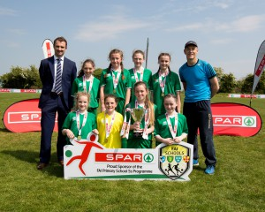 Keith Crawford representing Spar, Boyerstown NS Girls A Winners, Teacher Cathal O'Bric