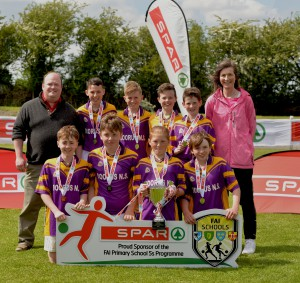 Scoil Chiarain Naofa Dorrus NS Co Galway finalists in the SPAR FAI Primary Schools 5's Connacht finals, pictured at Solar Park Mayo with their Cup and medals. As winners they will progress to the SPAR FAI Primary School 5's National Finals in the Aviva Stadium on May 31st. Pic Conor McKeown