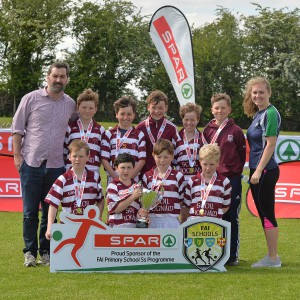 Scoil Iognaid Galway finalists in the SPAR FAI Primary Schools 5's Connacht finals, pictured at Solar Park Mayo with their C Cup and medals. As winners they will progress to the SPAR FAI Primary School 5's National Finals in the Aviva Stadium on May 31st. Pic Conor McKeown