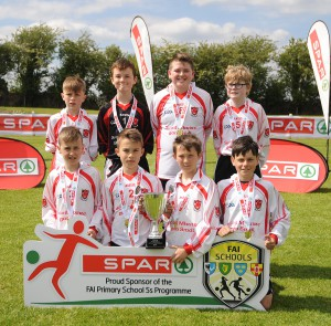 Scoil Mhuire Gan Smal Ballymote Co Sligo finalists in the SPAR FAI Primary Schools 5's Connacht finals, pictured at Solar Park Mayo with their Cup and medals. As winners they will progress to the SPAR FAI Primary School 5's National Finals in the Aviva Stadium on May 31st. Pic Conor McKeown