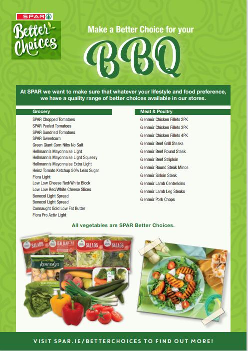 Spar Better Choices BBQ Product List